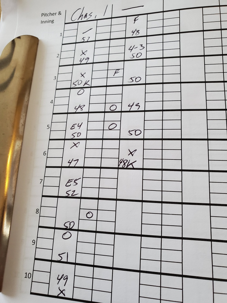 Photo of pitch-tracking sheet with data recorded